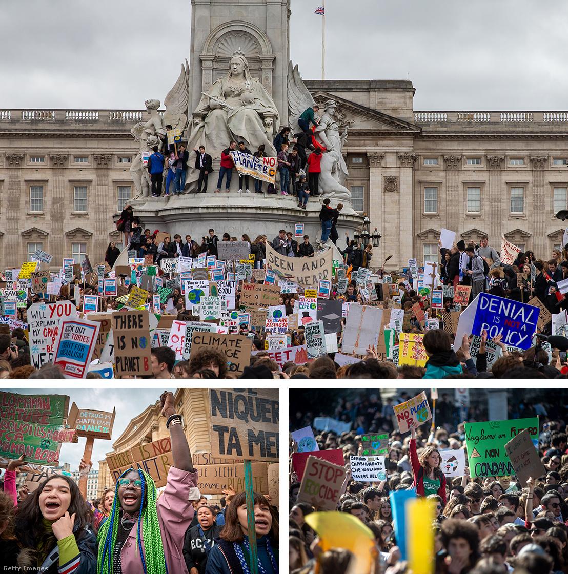 Greta Thunberg hatására elindított klímasztrájk pénteki tüntetései Londonban (fent), Párizsban (bal lent) és Rómában (jobb lent)