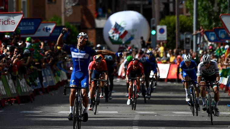 Philippe Gilbert ünnepli második szakaszgyőzelmét a Vuelta a Espana 17. etapján