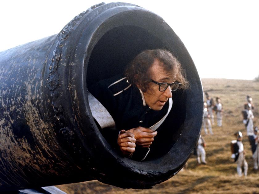 Woody Allen Szerelem és halál című filmjének magyarországi forgatásán 1974-ben.