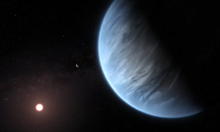A K2-18b exobolygót ábrázoló illusztráció.