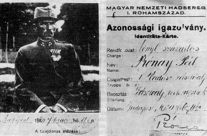 Prónay Pál katonai azonosítólapja