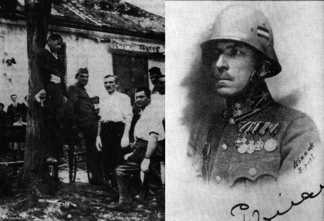 Bal oldalon: a fehérterror egyik áldotata; Jobb oldalon: Prónay Pál