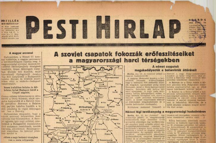 Régi Pesti Hírlap 1944. december 13-i kiadása. Forrás: Arcanum adatbázis