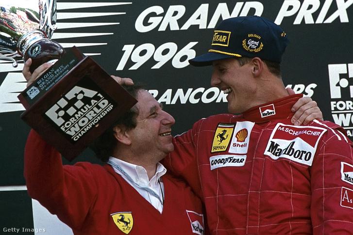 Jean Todt és Michael Schumacher a Belga Nagydíjon 1996-ban.