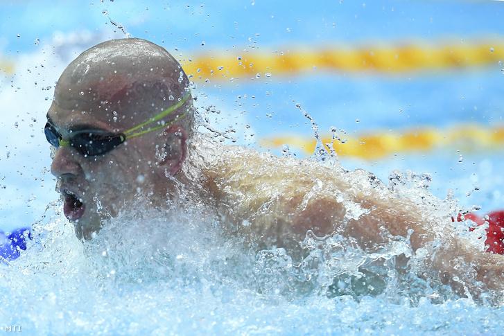 Cseh László a férfi 100 méteres pillangóúszás előfutamában a 18. vizes világbajnokságon a dél-koreai Kvangdzsuban 2019. július 26-án.