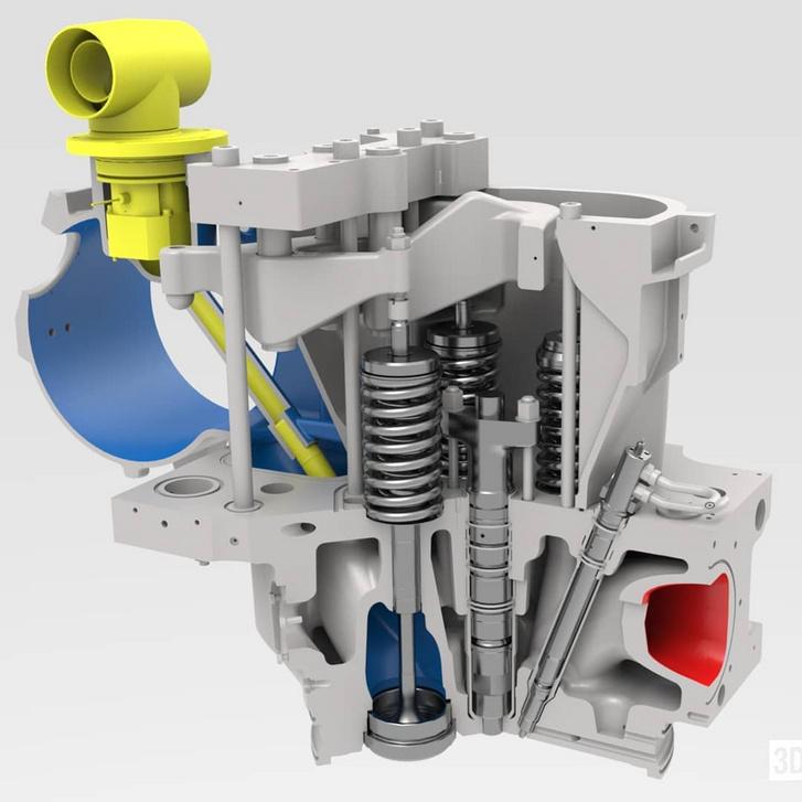 Egy DF motor hengerfeje és a dupla falú gázcső  illetve a gázadagoló szelep - jól látható a főinjektor (középen, függőlegesen) és a gyújtóinjektor (a főinjektortól jobbra, kicsit döntve)