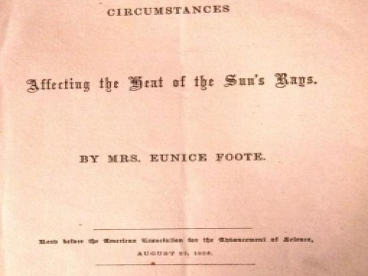 Eunice Foote 1856-as tanulmányának borítója a globális felmelegedésről