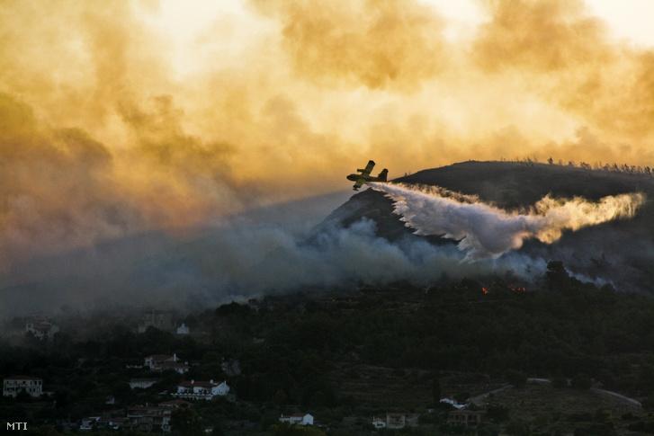 Sűrű fekete füsttel ég az erdő a görögországi Számosz szigeten fekvő Püthagorion település közelében 2019. augusztus 24-én.