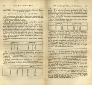 """Eunice Newton Foote """"A napsugarak hőjét befolyásoló körülmények"""" című munkája az American Journal of Science c. folyóiratban 1857-ben."""