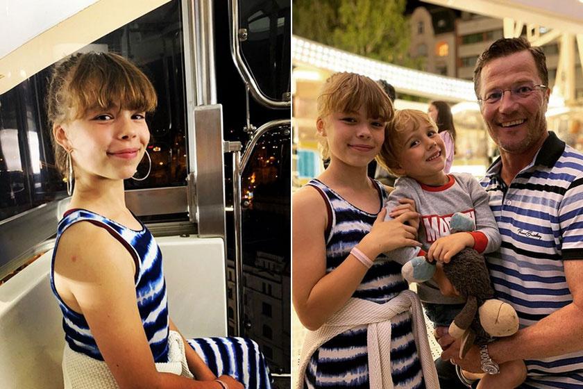 Stohl András legkisebb lánya is már kész kis hölgy. A jobb oldalon édesapjával és öccsével.