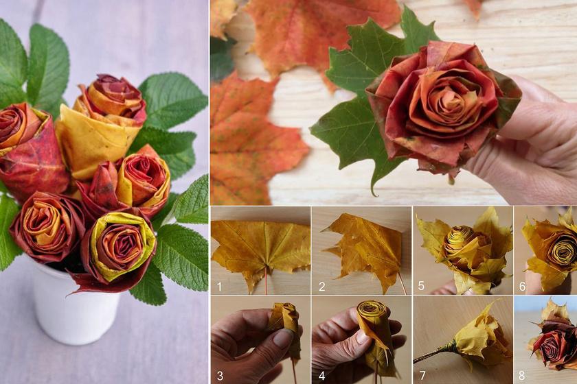 Az őszi levelekből gyönyörű rózsa hajtogatható. Tökéletes dísze lehet egy ilyen csokor a vacsoraasztalnak.