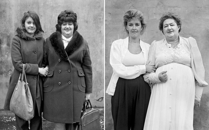 Karen Cubin és édesanyja, Barbara Taylor 1974-ben és 1995-ben, Barrow-in-Furnessben.
