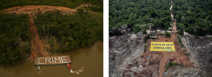 """Left: Greenpeace activists painted the word 'crime' on a barge used next to an illegal tree-farm in Brazil. – Right: Greenpeace activists hold the banner saying """"The water shortage starts here"""" at an illegal tree-farm in Brazil."""