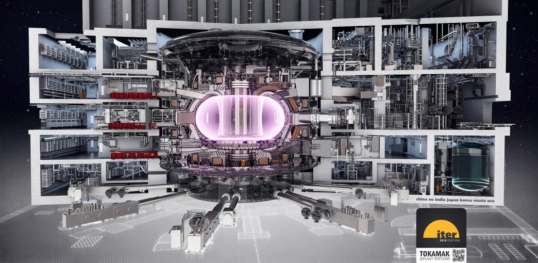 Az ITER szíve, a tokamak reaktorkamra és az azt körülvevő épület metszeti rajza (középen, a halvány lilával ábrázolt rész a plazma)