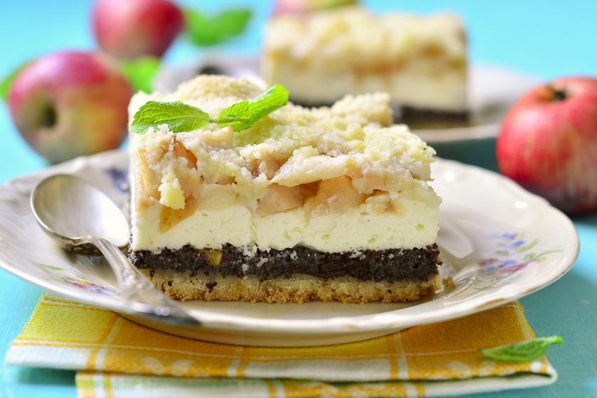 Pillekönnyű tésztájú mákos, túrós pite: fokozd az élvezetet almával