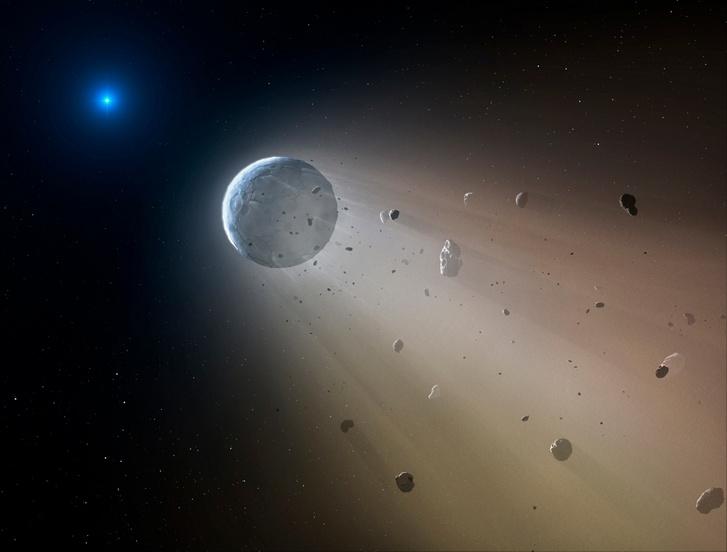 Művészi elképzelés egy aszteroida lassú széthullásáról