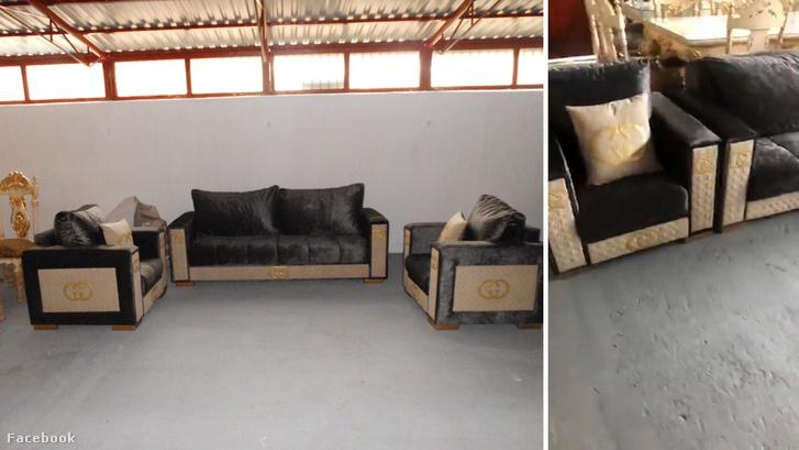 Bal oldalon a NAV által lefoglalt hamis bútorok, jobb oldalon a Gyönyörű Olasz bútorok facebook videójából készült képernyőkép