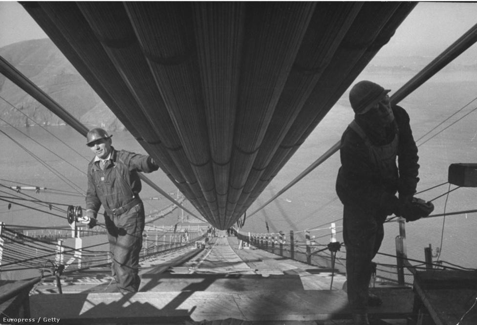 1937. május. Munkások az utolsó kábelkötegeket szerelik fel. A híd építésén több ezer munkás dolgozott, a pontos számot nem tudni,                         mivel a 10 fővállalkozó és számtalan alvállalkozó közül sok ma már nem                         is létezik, másoknak a nyilvántartásaik vesztek oda 75 év alatt. Ma                         már egyetlen egykori munkás sem él, az utolsó túlélő, Jack Balestreri                         néhány hete halt meg, 95 éves korában.