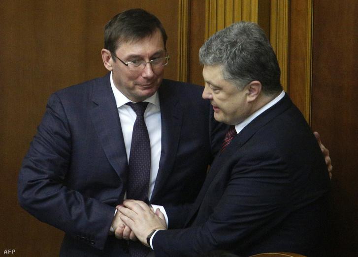 Lucenko és Porosenko az ukrán parlamentben 2016 májusában