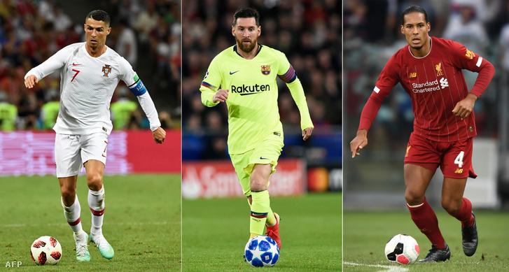 Kombó kép balról-jobbra: Ronaldo, Messi, Virgil van Dijk