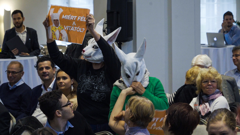 Nyúlnak öltözött aktivisták kérlelték Tarlóst
