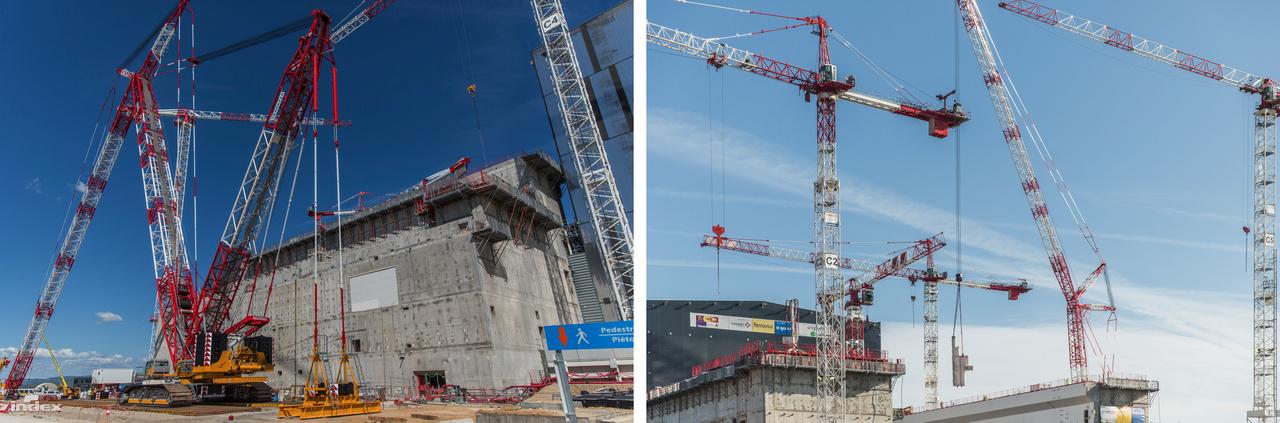 Minden nagyszabású építkezésen emelődaruk sokasága dolgozik, hogy a nagy épületelemek a helyükre kerüljenek. Nincs ez másképp az ITER esetében sem, ahol volt szerencsénk látni a műfaj egyik jóvágású képviselőjét, a 650 tonna emelőkapacitású, 192 méter magasba is elérő Demag CC 3800-1 lánctalpas darut. Bár a fix telepítésű daruk közül sok ennél nagyobb terheket is képes mozgatni, lánctalpas társaiknak megvan az az előnye, hogy mivel mobilisak, egy adott építkezési területen nagyobb körben vethetők be. A Vernazza Autogru olasz cég Demag CC 3800-1-es daruját délelőtt még összecsukva láttuk, délután már munka közben figyelhettük meg.