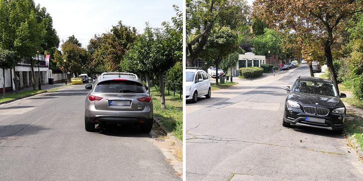 Bal oldalon egy szabályos parkolás látunk, míg a jobb oldali jármű, azzal, hogy szemben áll a forgalommal, szabálytalan