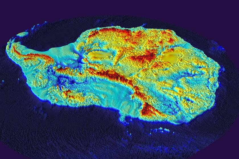 Ilyen lenne az Antarktisz hó nélkül a digitális domborzati térkép szerint.