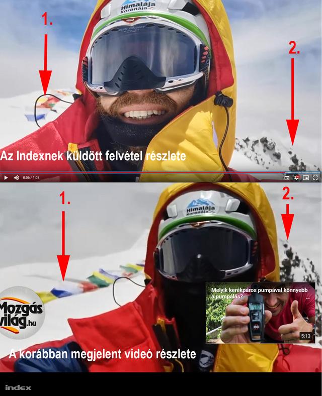 Az Indexnek küldött, és a korábban megjelent videó egy részletének összehasonlítása. A hegymászó körül egyező részletek alapján valószínű, hogy a két felvétel ugyanott, a K2 csúcsán készült. (1. Imazászlók. 2. A mellékcsúcs sziklaformáinak egyezése.)