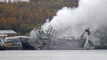 Kigyulladt egy olajjal teli orosz halászhajó a norvég partoknál