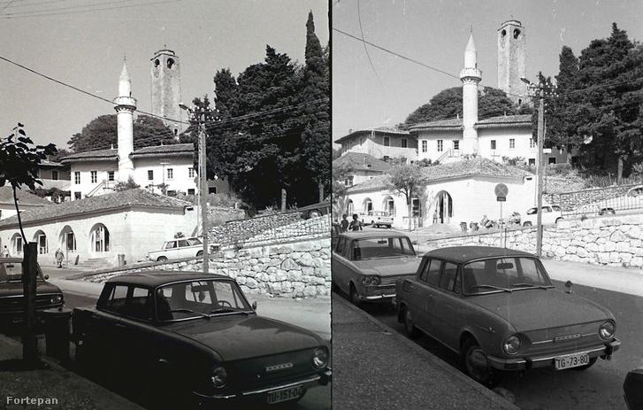 Bal oldalon a Fortepanon látható fotó (1970. Montenegró, Ulcinj a Nagy (Namazgjahu) mecset és az óratorony), jobb oldalon pedig Ernő felvétele