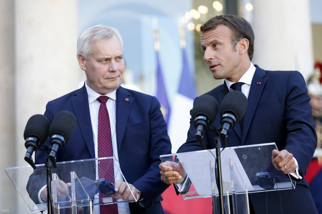 Antti Rinne az Európai Unió soros elnöki tisztségét betöltő Finnország miniszterelnöke és Emmanuel Macron francia elnök szeptemberi találkozója