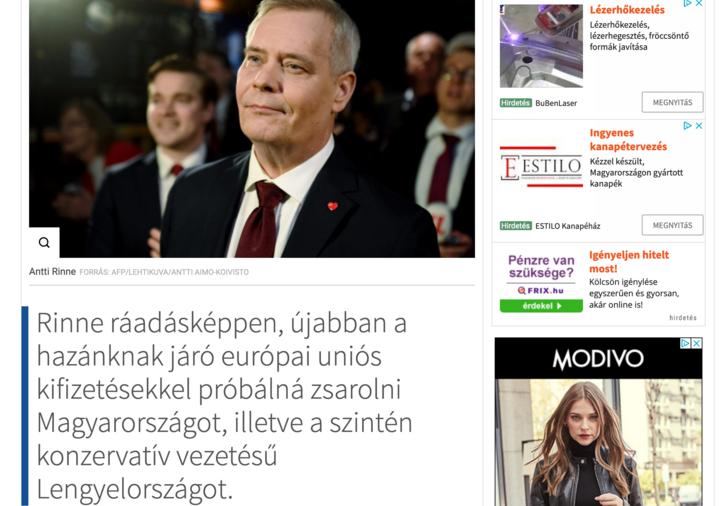 Google AdSense reklámok magyar propagandaoldalon
