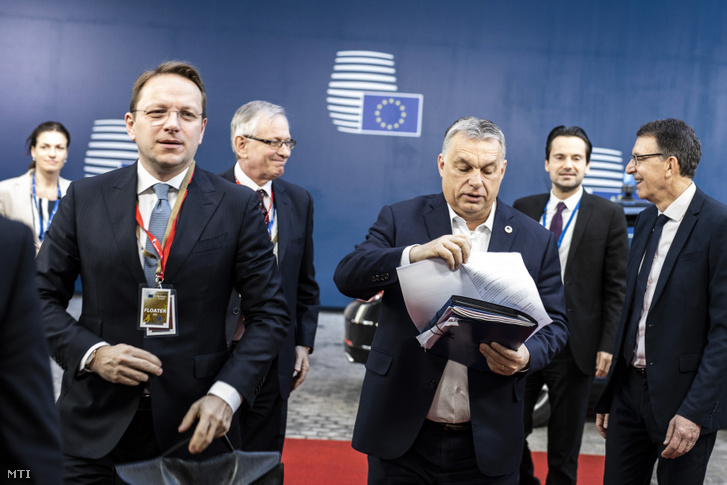 Olivér Várhelyi (right), the new Hungarian nominee for the European Commission, and Viktor Orbán (left) the Hungarian Prime Minister arrives for an EU Summit at European Council March 22, 2019. in Brussels