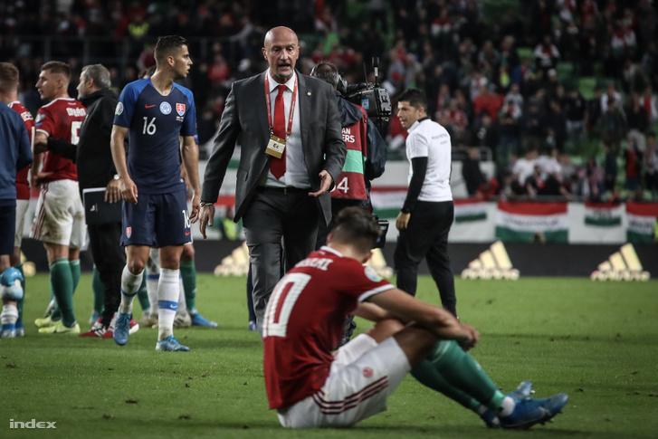 Marco Rossi Szlovákia elleni mérkőzés végén 2019. szeptember 9-én