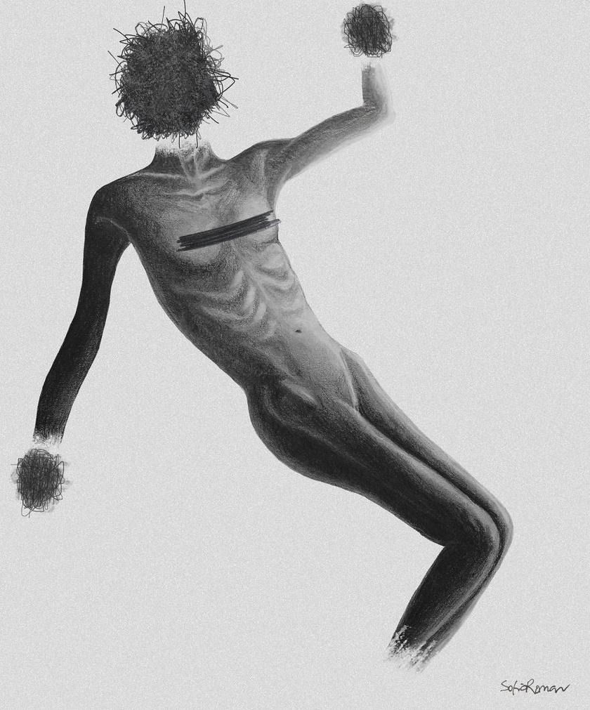 A kép címe a Fantom. Ezzel a rajzzal megmutatja a betegséggel járó lehangoltság és az örömre való képesség elveszítésének érzését, mely egyfajta sötét ködként lepi el az embert.