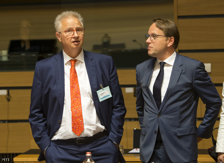 On this picture, made available by the European Council, are Minister of Justice László Trócsányi and Olivér Várhelyi Permanent Representative at the Justice and Home Affairs Council's meeting in Luxemburg, 8th June 2017.