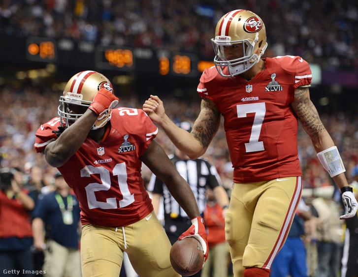 Gore hatyardos touchdownját ünnepli a Super Bowl XLVII-ben, amiben végül a Baltimore Ravens nyert ellenük 34-31-re