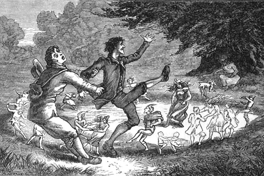 Wirt Sikes 1880-as, walesi folklórról szóló könyvének illusztrációja, melyen egy férfi megmenti a körbe lépni készülő barátját attól, hogy örök táncra fogják.