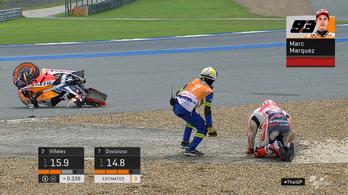 Óriásit bukott, kórházba vitték a MotoGP-bajnok Márquezt