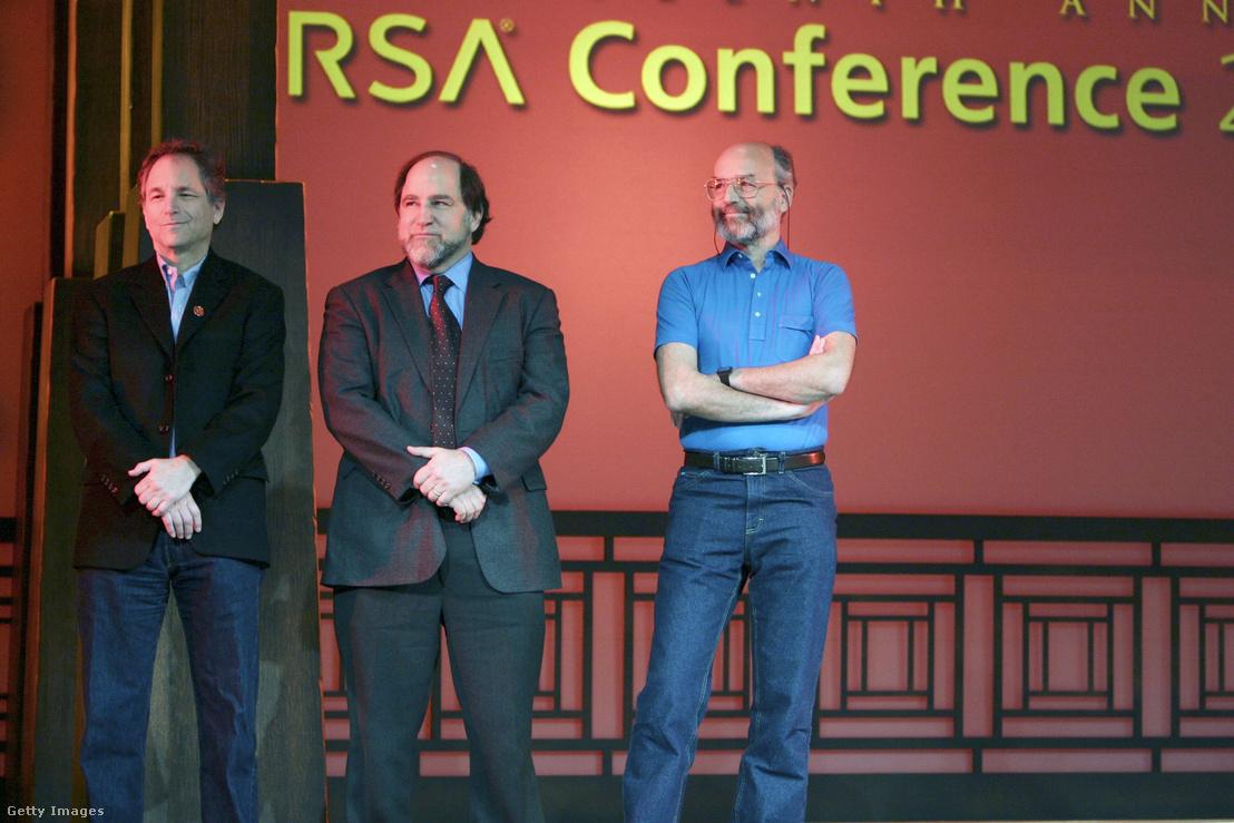 Ronald L. Rivest (középen), Adi Shamir (balra) és Leonard M. Adleman, az RSA algoritmus megalkotói egy 2004-es konferencián