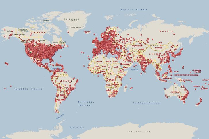 Waledac fertőzések a világban 24 órás periódusban 2010. február 25-én