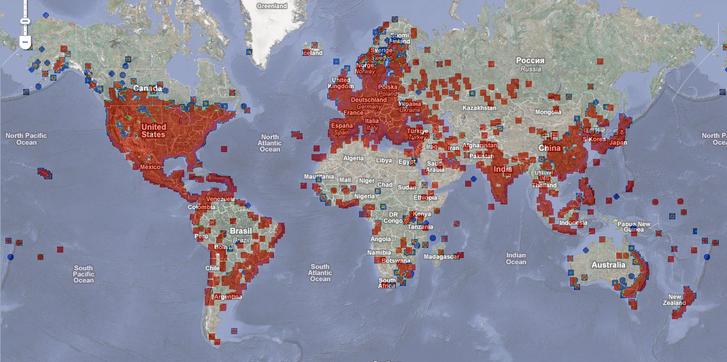 Conflicker fertőzöttségi világtérkép 2009. április 1-én
