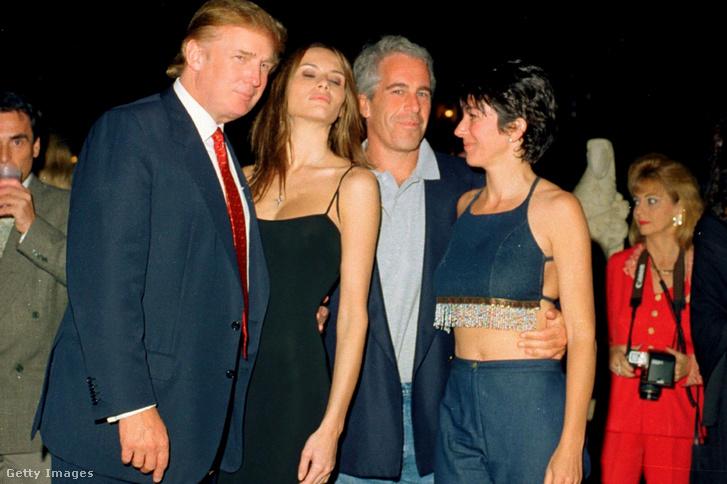 Donald Trump, Melania Knauss, Jeffrey Epstein és Ghislaine Maxwell Mar-a-Lago klubban 2000. február 12-én