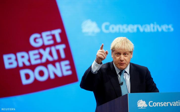 Boris Johnson a Konzervatív párt konferenciáján Manchesterben 2019. október 2-án