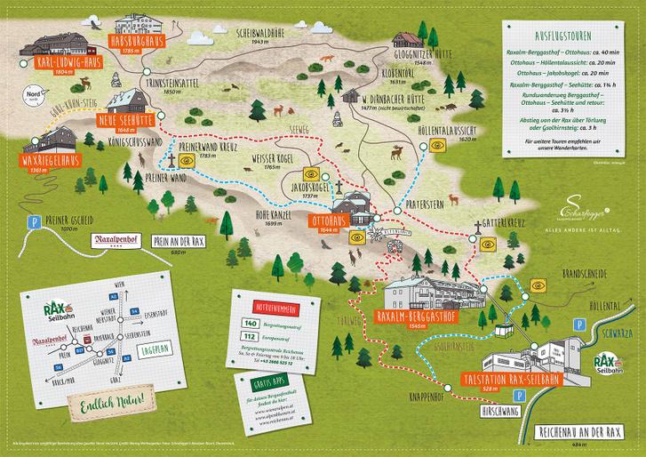 A Rax-fennsík főbb túraútvonalai (forrás: Raxalpe.com)