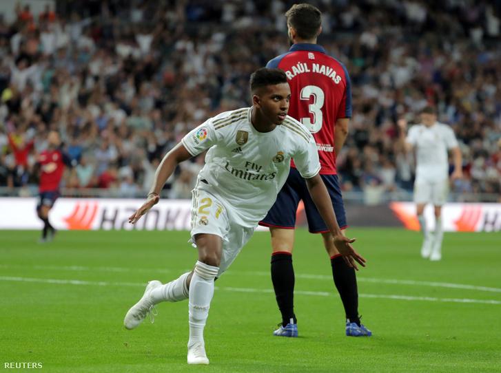Rodrygo ünnepli gólját az Osasuna elleni mérkőzésen Madridban 2019. szeptember 25-én