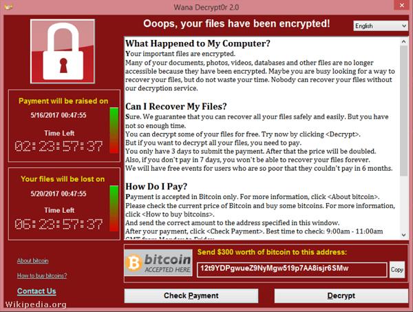 WannaCry zsarolóvírussal fertőzött számítógép képernyőképe