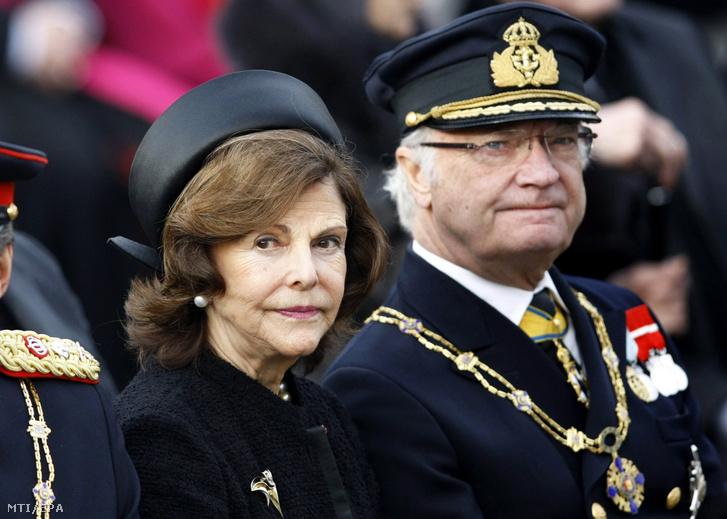 XVI. Károly Gusztáv svéd király (j) és felesége Szilvia királyné
