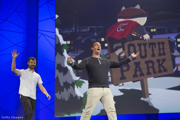 Matt Stone és Trey Parker (jobbra) 2015-ös E3 konferencián Los Angelesben